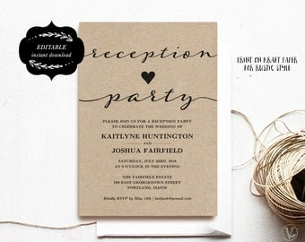 Wedding Reception Party Invitation Template, Kraft Reception Card, Instant DOWNLOAD - EDITABLE Text - 5x7, RP003