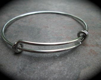 Smaller Size expandable wire bangle bracelet blanks in bright silver or rhodium finish Double Loop Style Perfect for smaller size wrists