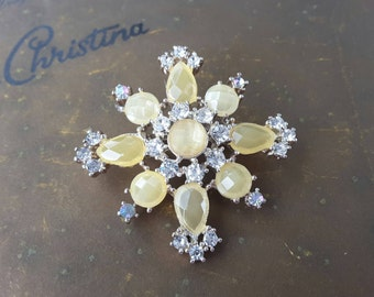 Lemon Yellow Moonglow Lucite and Rhinestone Brooch