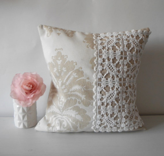 Throw Pillows With Lace : Decorative Pillow Cover Lace Throw Pillow Shabby Chic