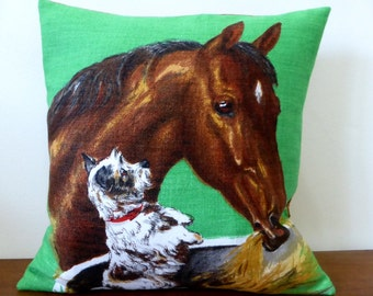 Horse Cushion Cover Dog Pillow Puppy Irish Linen Vintage Tea Towel Repurposed Upcycled Horse Pillow Cover Puppy Cushion