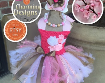 3piece set - Cherry Blossom tutu dress -Pretty in Pink , LINED TOP - big Bow & Necklace - Flower Girl - Pageant  - From Charming Designs