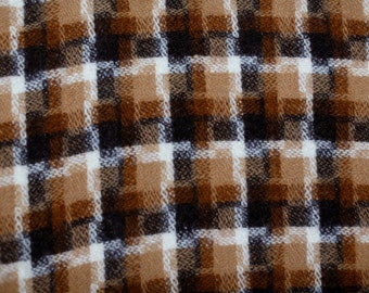 Plaid abstract intricate vintage plaid wool fabric...fantastic! amazing plaid pattern earth tones chocolate brown, light brown black & white