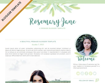Blogger Template - Premade Blog Design - INSTANT DOWNLOAD - Rosemary Jane Theme