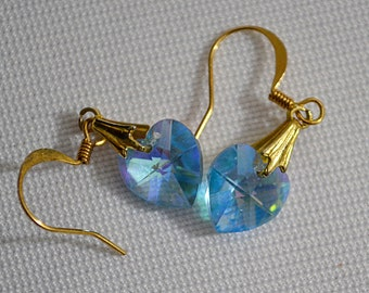 Vintage 1970s Dangling Blue AB Faceted Crystal Heart Earrings Gold Tone Metal Pierced