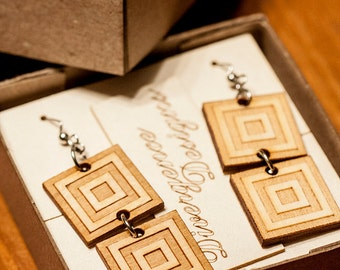 Spiral Square Wood Earrings