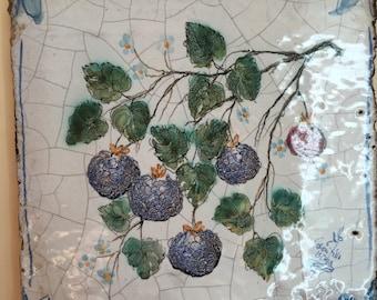 Ceramcfic Tile Wild Blackberries  * Mattonella Quadretto di ceramica con le more