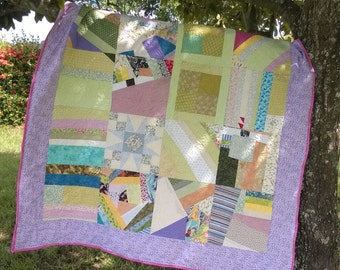 Twin size Scrappy or Crazy quilt- new, finished