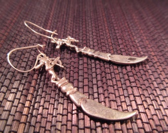 Sterling Silver Cupid with a Dagger Earrings