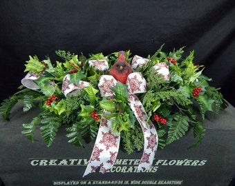 Winter Deluxe Cardinal Christmas Cemetery Silk Flower Plus Snowflake Bow  Headstone/Tombstone Saddle/Topper Grave Pillow Decoration