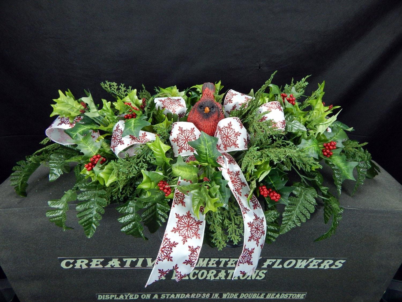 Winter Deluxe Cardinal Christmas Cemetery Silk Flower Plus