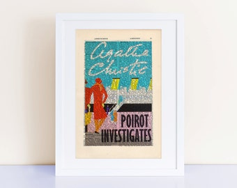 Poirot Investigates by Agatha Christie Print on an antique page, book cover art, Hercule Poirot