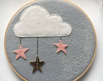Hoop Art, Wall Art, Nursery Room Decor, Kids Room Decor, Cloud, stars, grey, pink, gold, dream
