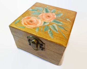 Jewelry box  Jewelry storage  gift box  painted box  with flowers  wooden box  Painted box unique gift box  flower trinket box  floral box