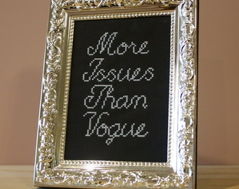 More Issues Than Vogue Cross stitch in silver ornate frame