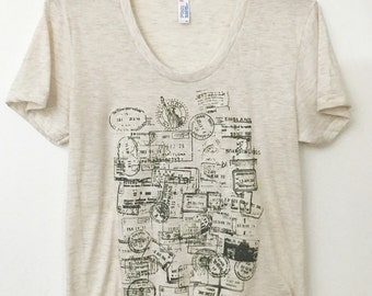 Passport Stamps Travel Men's American Apparel T-shirt