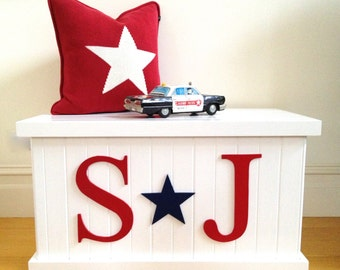 Toy Box - Letter and Star, Boys Toy Box, Toy Chest, Toy Storage, Toy Bin, Child's Toy Box, Personalised Toy Box, Wooden Toy Box, Boys Decor