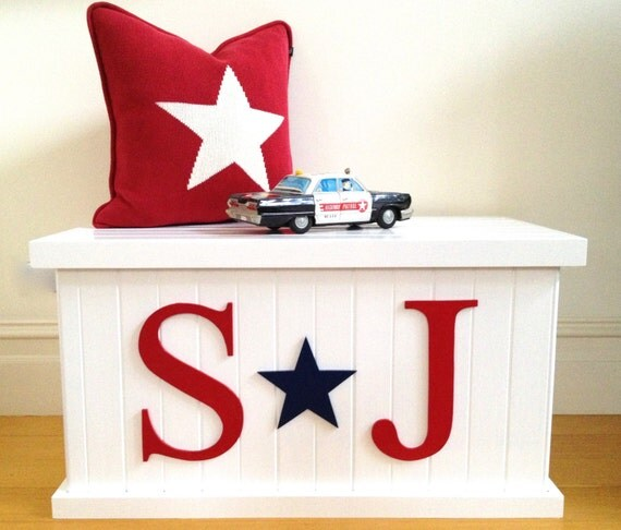 Toy Boxes For Boys : Toy box letter and star boys chest