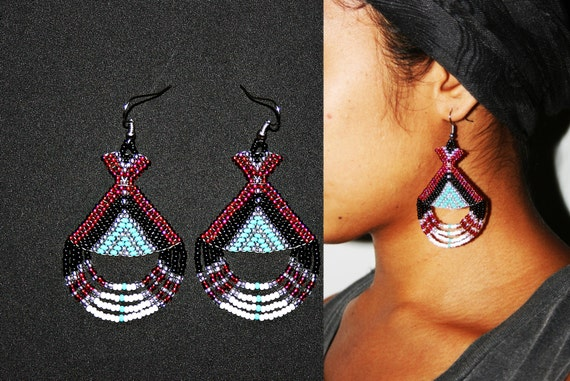 Native American Beaded Earrings, Aztec Earrings, Maya Earrings, Inca Earrings, Beaded Tribal Earrings, Huichol Earrings, Tribal High Fashion
