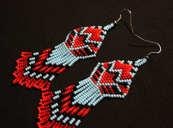 Native American Beaded Earrings, Beaded Tribal Earrings, American Indian Earrings, Huichol Earrings, Brick Stitch Earrings, Authentic