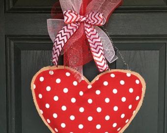 Burlap Heart Door Hanger for Valentine's Day