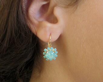 Mint Opal Earrings, Mint Earrings, Opal Earrings, Gold Opal Earrings,Leverback Earrings, Gold Leverback Earrings, Earrings Leverback