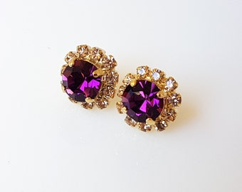 Swarovski Purple Stud Earrings, Swarovski Purple Earrings, Purple Earrings, Purple Stud Earrings, Swarovski Stud Earrings, Amethyst Earrings