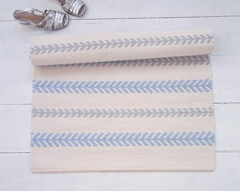 Scandinavian Baby Boy Nursery Rug, Ivory, Blue, Grey Cotton Rug, Washable, Handmade, Double-sided, Woven on the Loom, Made to Order