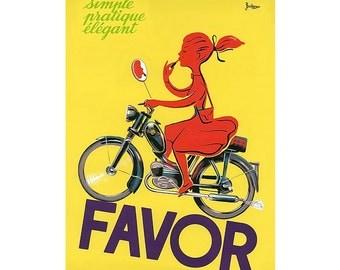 Favor Mopeds Scooter Girl by Bellenger Vintage Art Print Poster - French, Vintage, Art Deco