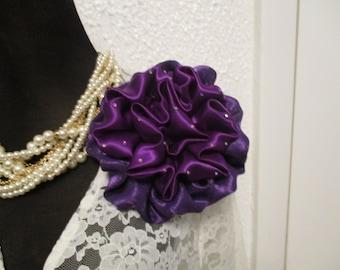 Purple Satin Handmade Flower, Mother of the Bride, Corsage,