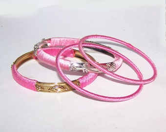 Pink Bangle / Silver / Brass / Gold / Thread Wrapped / Pink Thread Wrapped Bangles / Stackable