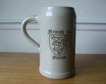 One Litre Stoneware Beer Stein by Moseda Ceramics - Flemish Inn, Ostend.