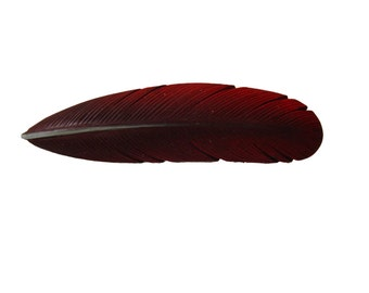 Hand Carved Wood Feather Brooch