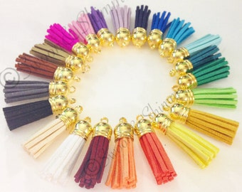 Gold Capped Suede Tassels in 22 colors - Flat Rate shipping