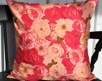 Pillow cover 20x20 rose pattern pink peach hot pink Decorative Throw Pillow