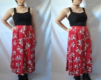 80s Maxi Skirt Midi Skirt Grunge Skirt Floral Skirt High Waisted Skirt Boho Skirt Summer Skirt Red Skirt Vintage 80s Skirt Vintage 90s Skirt