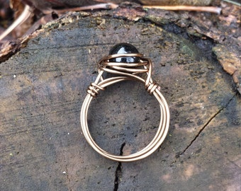 Black Obsidian Wire - Wrapped Ring