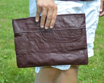 Leather clutch, up cycled leather clutch, leather purse, leather handbag