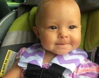 Purple chevron car seat stap covers, organic bamboo fleece car seat stap covers, child car seat covers