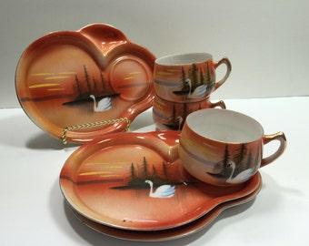 Vintage Japan Snack Plates/ Cups...Swan Design Luncheon Plates..Asian Design Luncheon Sets..
