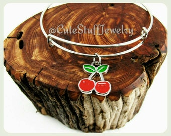 Red Cherries Bracelet, Cherries Bangle, Cherry Bracelet, Cherry Bangle, Handmade Cherries Jewelry, Boho Trendy gift, fruit bracelet