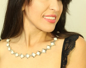 1940s White and Silver Star Dust  Necklace