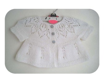 Poppy Cardi - Knitting Pattern - Baby girl to age 6 cardigan - Instant Download PDF