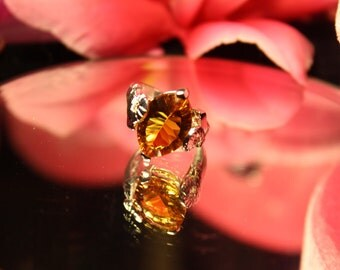 Marquise Orange Topaz Sunny 925 Sterling Silver Rings Sz.7