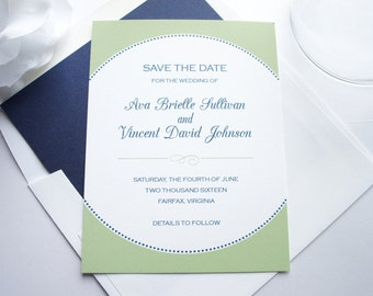 Green Save the Dates, Blue Save the Date, Modern Save the Date Card, Save the Dates - DEPOSIT
