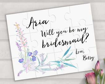 Will you be my bridesmaid puzzle - Wedding proposal puzzle - bridesmaid proposal - custom puzzle - bridesmaid gift - flower girl