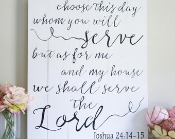 Bible Verse, Scripture Art, Joshua 24:14, But As For Me and My House We Shall Serve The Lord, Wood Sign, Christian Art, Housewarming Gift