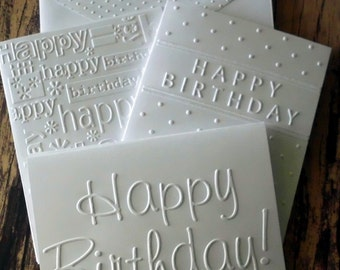 6 Assorted Birthday Cards, White Embossed Birthday Card Set, Birthday Greeting Cards, Happy Birthday Cards, Variety Pack of Birthday Cards
