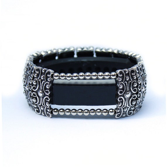 Silver Band Bracelet: FitBit Alta Band And Alta HR Band Cover Bracelet: Antique
