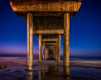 Fine Art Photographic Print • Beneth Scripps Pier La Jolla • Various Sizes and Gallery Wrap Available